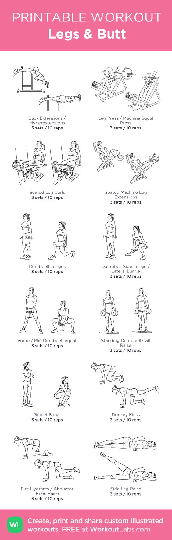 Legs & Butt – my custom workout created at WorkoutLabs.com • Click through to download as printable PDF! #customworkout: