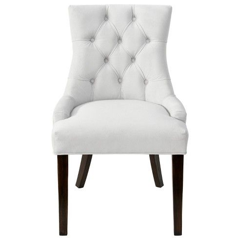 English Arm Dining Chair Off White Linen Threshold Velvet