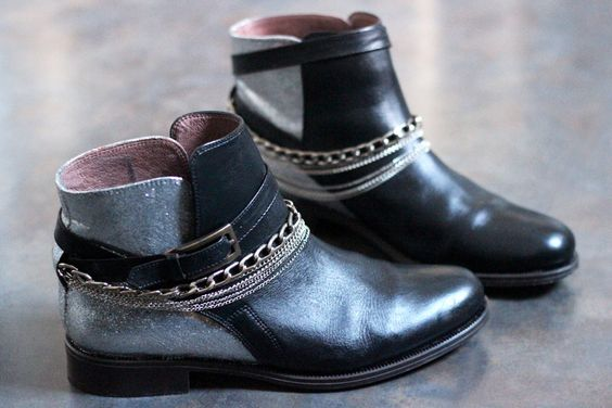 diy rock your shoes argent artlex blogueuse boots chaine chaussures cuir customisation. Black Bedroom Furniture Sets. Home Design Ideas