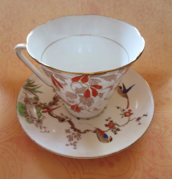 Vintage Mismatched Teacup and Saucer By Grafton China AB Jones #5396, Birds on Branches and Royal Grafton #5874, Fine Bone China England