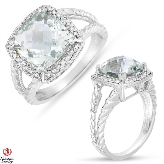 Ebay NissoniJewelry presents - Ladies Green Amethyst Fashion Ring with Diamond Accent in Sterling Silver    Model Number:CG-5082SI75GAM    http://www.ebay.com/itm/Ladies-Green-Amethyst-Fashion-Ring-with-Diamond-Accent-in-Sterling-Silver/221877919691