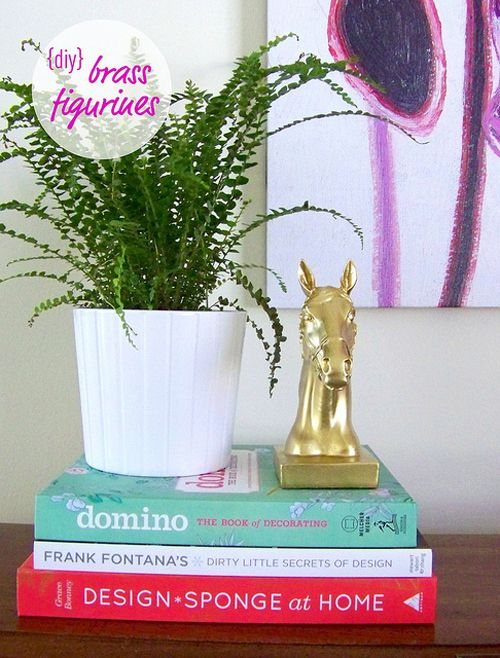 Shelf styling with brass animals