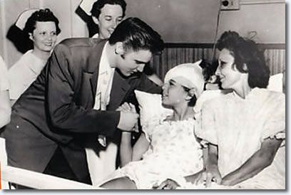 What a guy. On July 6, 1956 Elvis visited 12 year old Ellen Mincey at St. Joseph's Hospital in Memphis. She and her mother were injured in a car wreck as they left a picnic to get ready to attend Elvis' performance at Russwood Baseball Park. That would have made their day