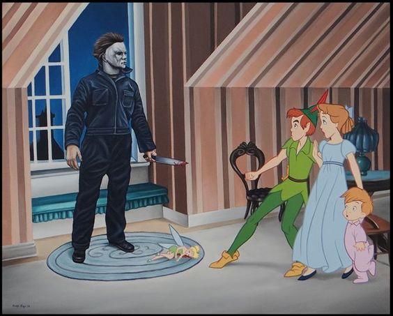 Rodolfo Loaiza Ontiveros en donde profana la inocencia de Disney. En esta ocasión te traemos otra serie de ilustraciones en donde retoma a los inocentes personajes de la casa del ratón y los contrapone con personajes terroríficos que representan la perversión, lo tóxico y lo retorcido de la sociedad.
