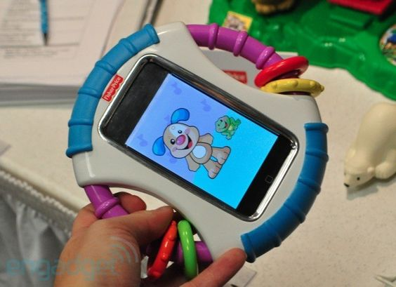 Fisher Price iphone case. It's dribble-proof, but child can still play on your iphone. The home button is blocked so they can't exit out of the app. BRILLIANT!!