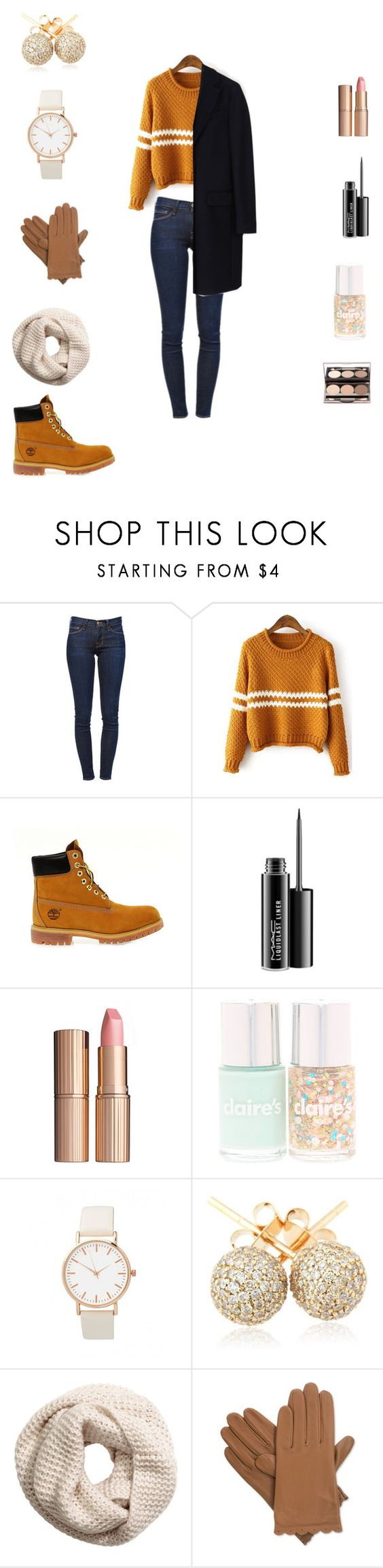 """Sans titre #10"" by paolala3810 ❤ liked on Polyvore featuring Frame Denim, Timberland, MAC Cosmetics, Charlotte Tilbury, Loushelou, H&M, Isotoner and MSGM"