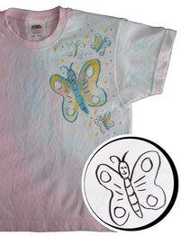 Kindershirt rosa mit blau teilweise eingefärbt, teilweise gedruckt und teilweise gezeichnet