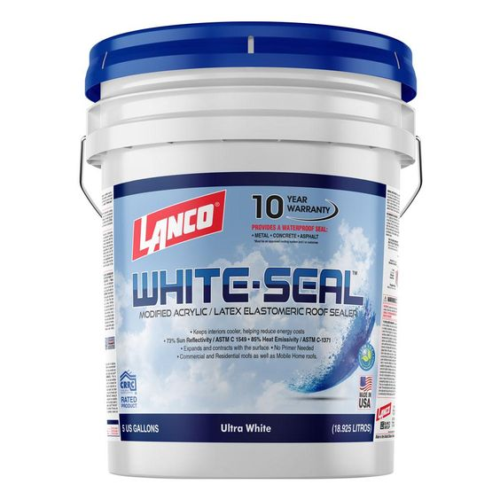 Lanco 5 Gal White Seal Elastomeric Roof Coating Rc865 2 In 2020 Elastomeric Roof Coating Roof Coating Roof Panels