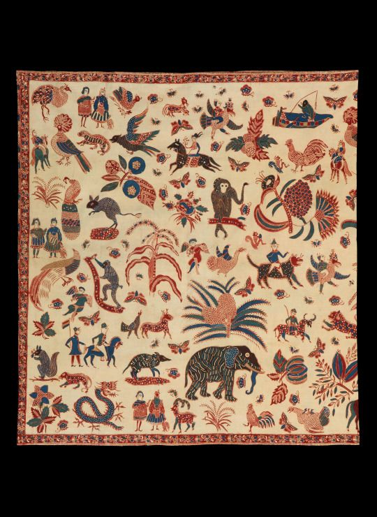 Batik Sarung 1860, Java. During the mid 19th century a new type of batik was invented by a small group of Indo-European women, working traditionally with natural dyes and molten wax applied to cotton by means of a pen (canting). This genre is known as the Indische school and combines both Asian and Western design elements.