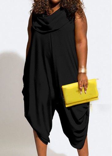 Cowl Neck Solid Black Sleeveless Jumpsuit with cheap wholesale price, buy Cowl Neck Solid Black Sleeveless Jumpsuit at Rotita.com !