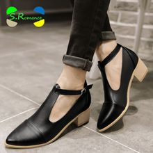 Botas de tobillo de mujer más el tamaño 32-43 Oxford Med Square talón hebilla de correa de calidad primavera mujer nueva moda otoño zapatos SB551(China (Mainland))