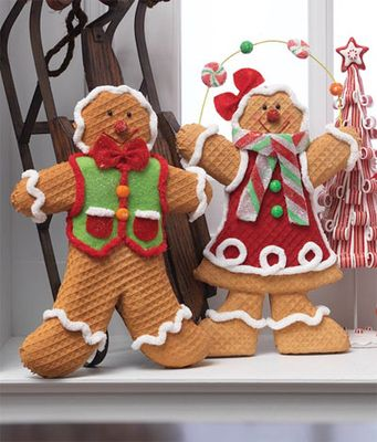 "RAZ 14"" Gingerbread Boy and Girl Christmas Decoration Set of 2"