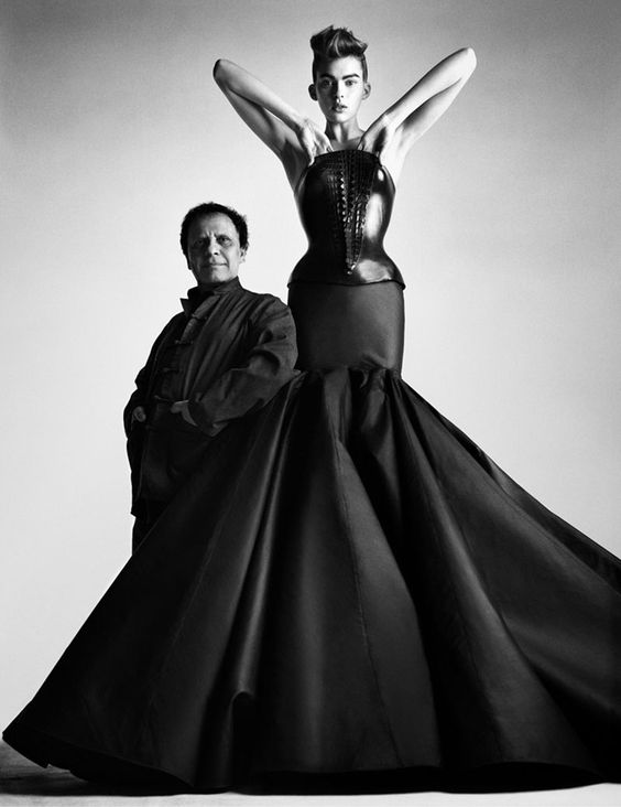 Tunisian-born couturier Azzedine Alaïa worked for fashion greats such as Christian Dior and Thierry Mugler before launching his own brand, famous for body-con silhouettes. Alaïa bustier dress, couture S/S 2003, photographed by Patrick Demarchelier.