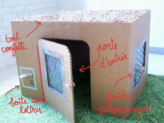Maison en carton pour enfant couture turbulences blog pinterest - Maison enfant carton ...