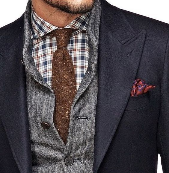 Brown tie with grey checks