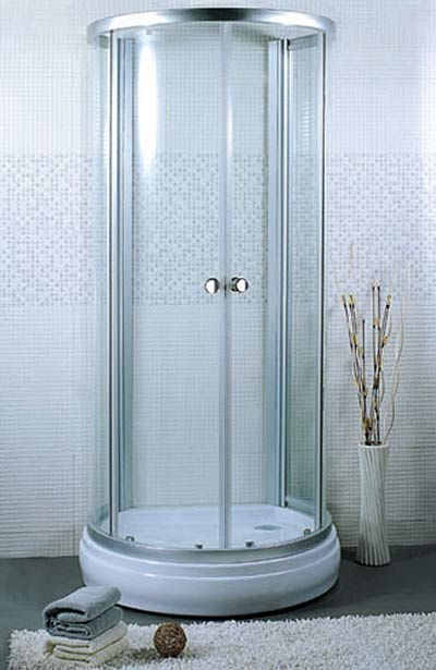 Aqua Glass Shower Stall Installation Framed