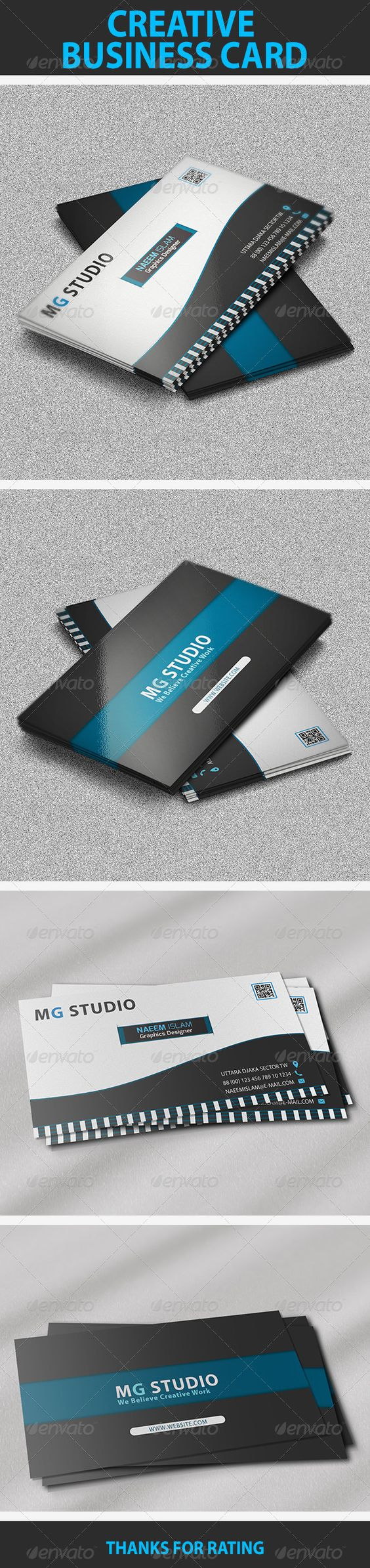 Creative Business Card Features:  • Easy to edit.  • Optimized for printing / 300 Dpi.  • CMYK color mode.  • 3.5×2 inch dimension.  • 0.25 Bleed.  • Help Guide Included.  • Adobe photoshop CS6 version.