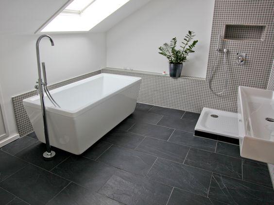 Bad Schiefer Fliesen #2 Badezimmer Pinterest Attic, Bath and - badezimmer l form