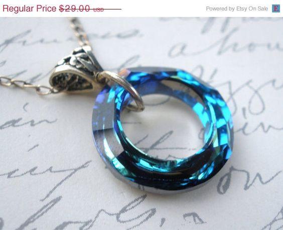SALE+Crystal+Necklace+Swarovski+Blue+Necklace+by+mlejewelry,+$26.10