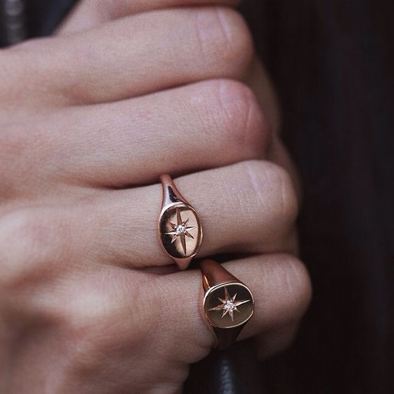14kt rose gold and diamond Starburst signet ring – Luna Skye by Samantha Conn: