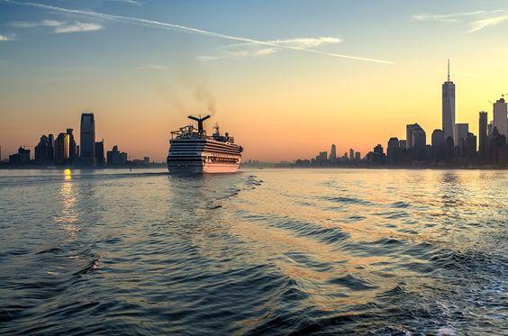 Cruise ship approaching New York