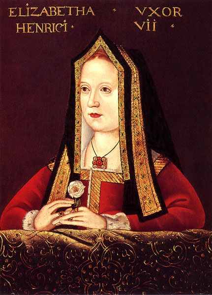 Elizabeth of York (1466 - 1503). Wife of Henry Vll. Queen from 1486 - 1503. Mother of Arthur of Wales, Henry VIII, Margaret Tudor, and Mary Tudor. Her marriage to Henry VII ended the war of the roses. She was forced to share the role of queen with her mother-in-law, Margaret Beaufort.
