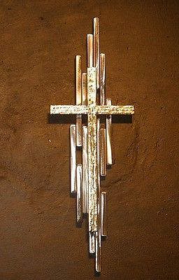 Abstract Metal Cross Sculpture Wall Art Gold Silver Religious Jere