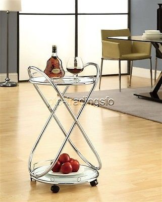 Monarch-Specialties-Bar-Cart-With-Frosted-Tempered-Glass-Chrome-Metal-NEW