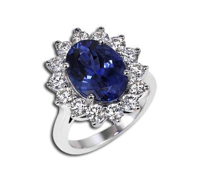 Tanzanite Engagement Ring Princess Diana diamond ring Ziva 5386TZ