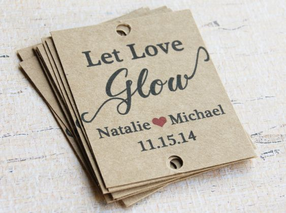 50 Rustic Wedding Tags + Custom Wording - Let Love Glow Rustic Tags - Sparkler Sendoff Tags - Glow Stick Tags - Wedding Favors by KimberlySmithEvents on Etsy https://www.etsy.com/listing/200067600/50-rustic-wedding-tags-custom-wording