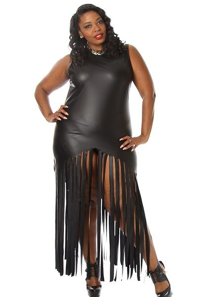 Plus Size Fringe Faux Leather Maxi Dress Availability: In stock ...