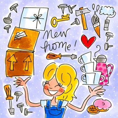 Kaarten - Nieuwe Woning Kaart Blond Gereedschap Dozen - Greetz