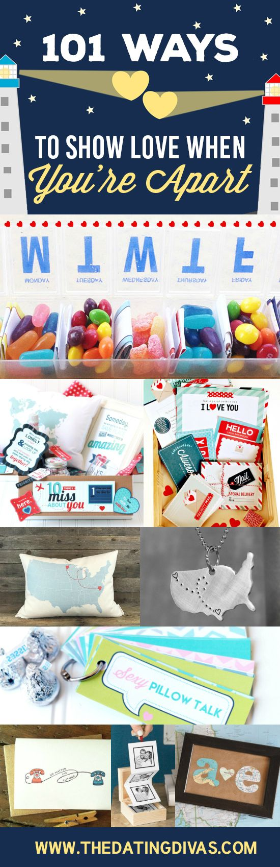 101 Ways to Show Love When You're Apart- so many GREAT ideas for a long distance relationship or even just a temporary business trip. LOVE!!!