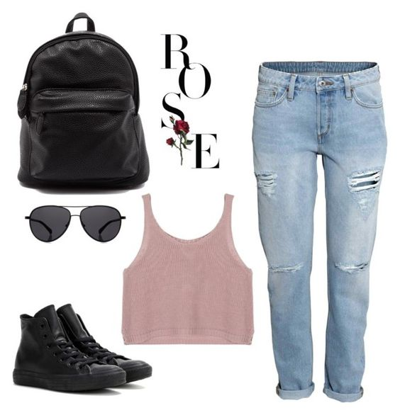 """""""boyfriend jeans pt iii"""" by gracieekleinn on Polyvore featuring Converse, The Row, women's clothing, women, female, woman, misses and juniors"""