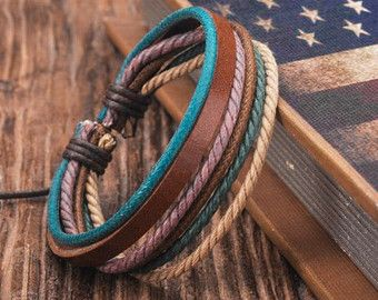 3 Pcs Cool Leather and Hemp Bracelet Set by BraceletStreetUSA