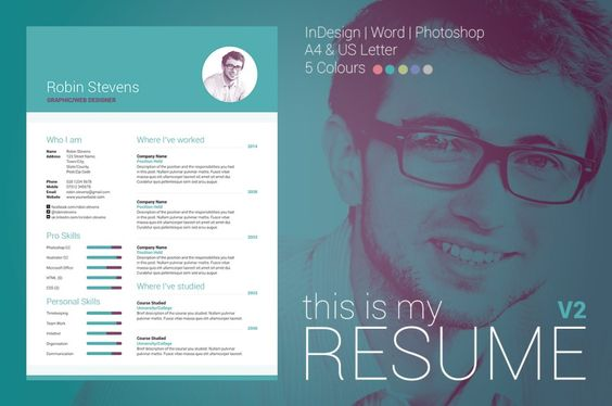 Carrie Resume CV Template Word Photoshop InDesign - indesign resume templates