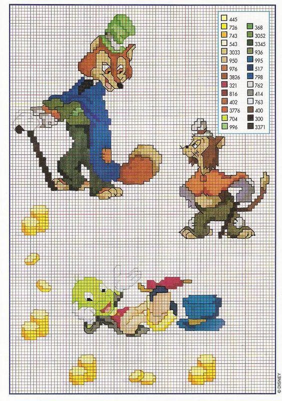Il gatto e la volpe della favola di pinocchio for Schemi gratis punto croce disney