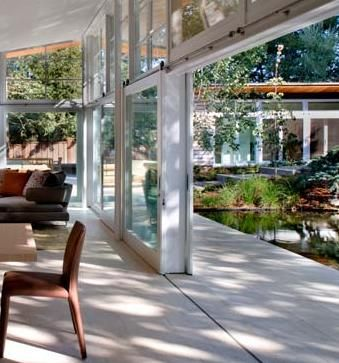 Sliding window walls at Atherton house by Turnbull, Griffin, Haesloop Architects