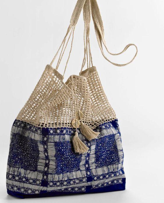 bag inspiration . crochet-trimmed fabric: