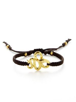 Tai Jewelry Textured Gold Snake Charm Bracelet