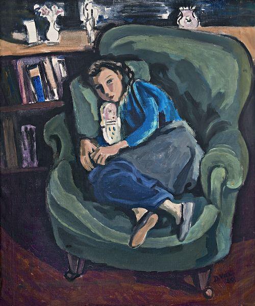Gemälde Mädchen in grünem Sessel