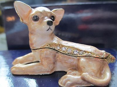 TITAN ~ CHIHUAHUA PUP~ JEWELED & ENAMEL TRINKET BOX ~ BOUTIQUE MINIATURE 61126