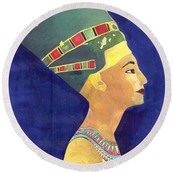 """Nefertiti  Round Beach Towel by Mohamed Allam.  The beach towel is 60"""" in diameter and made from 100% polyester fabric."""