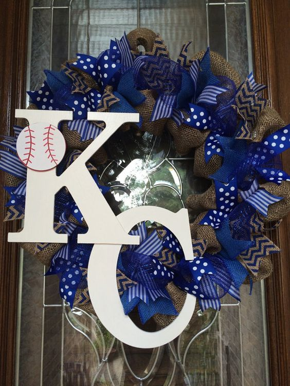 Kansas City Royals Burlap Baseball Wreath by TheWhimsyWreath