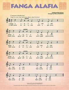 """Learn a West African welcome song with """"Fanga Alafia"""" which means """"Welcome, peace, good will to you!"""" Also included in this lesson pak is a student article on Liberia, a recorded pronunciation guide for the Yoruba lyrics, and guided instructions on how to improvise a percussion accompaniment. Use this welcome song for the beginning of the school year, or to welcome guests to your classroom or school."""