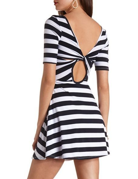 Back Cut-Out Striped Skater Dress - InStores