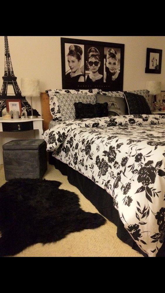 Parisian bedroom audrey hepburn and parisians on pinterest for Audrey hepburn bedroom designs