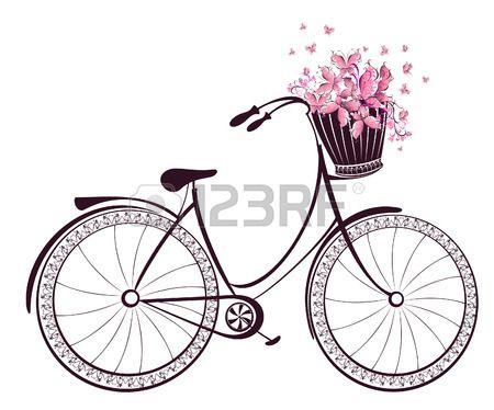 Bicicleta con una cesta llena de flores y mariposas foto - Cestas para bicicletas ...