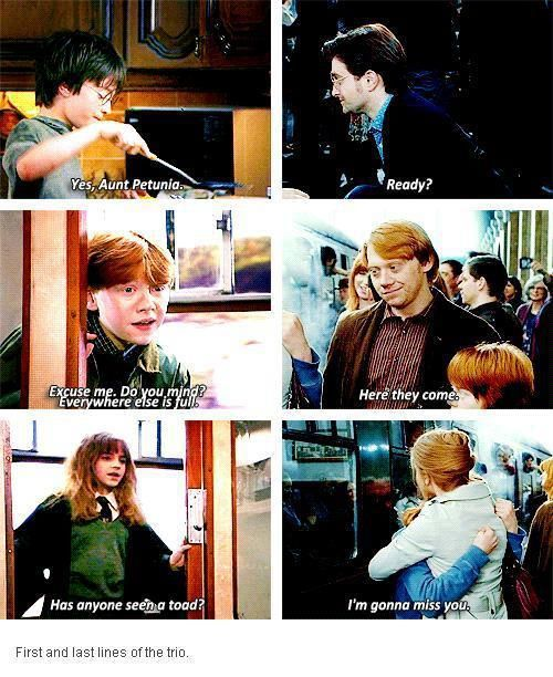 First and last movie lines of the trio. Aww <3