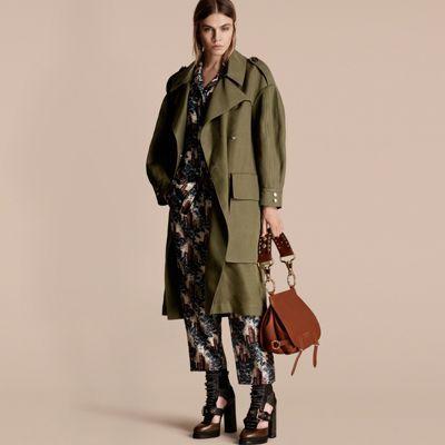 长版苎麻棉质围裹式大衣